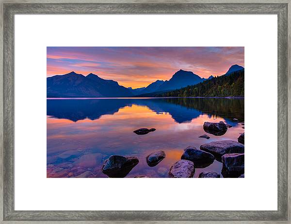 Dawn At Lake Mcdonald Framed Print