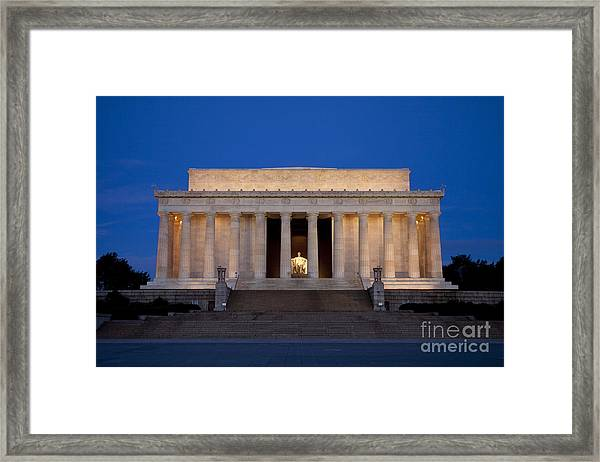 Framed Print featuring the photograph Dawn At Lincoln Memorial by Brian Jannsen
