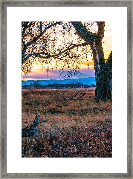 Setting Sun At Rocky Mountain Arsenal Framed Print