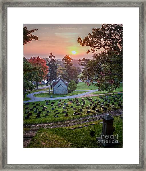 Framed Print featuring the photograph Dawn At Woodlawn II Winona Photograph by Kari Yearous