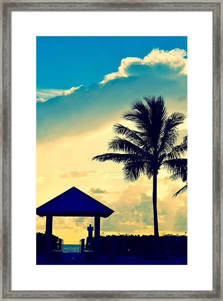 Dawn Beach Pyramid Framed Print