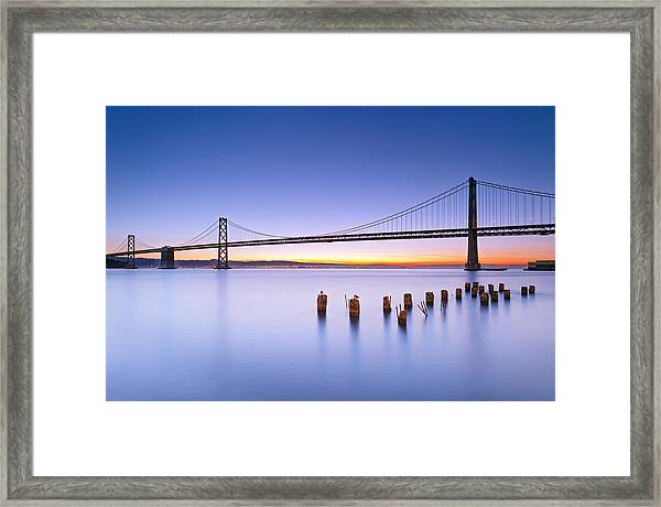 Dawn Colors - Bay Bridge Framed Print