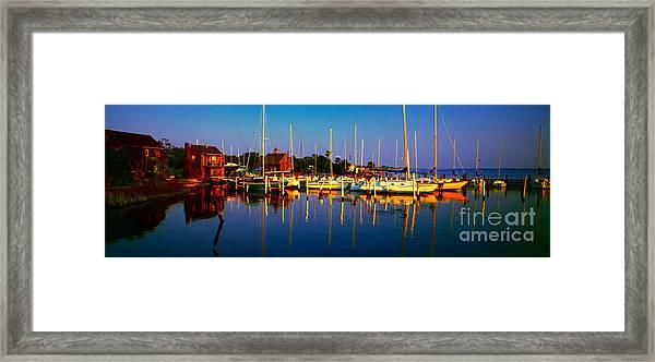 Daytona Beach Florida Inland Waterway Private Boat Yard With Bird   Framed Print