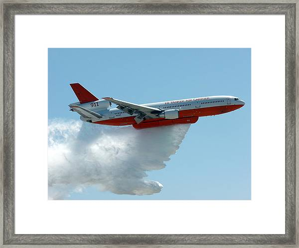 Dc10 Aerial Tanker Dropping Water Framed Print