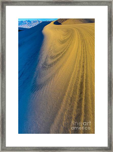Death Valley Sunset Dune Wind Spiral Framed Print