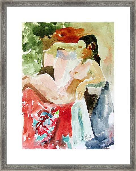 Debra On Flowered Kimono Framed Print