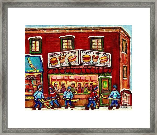 Decarie Hot Dog Restaurant Cosmix Comic Store Montreal Paintings Hockey Art Winter Scenes C Spandau Framed Print