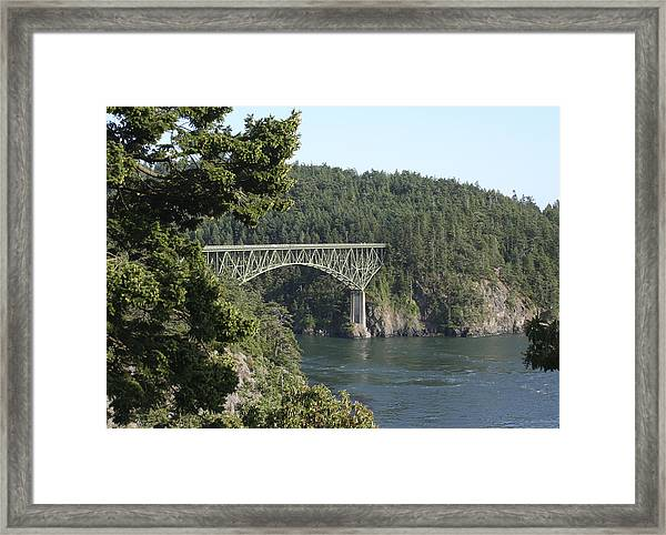 Deception Pass Bridge Iv Framed Print by Mary Gaines