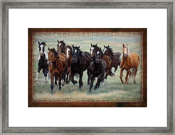 Deco Horses Framed Print