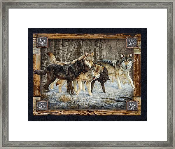 Deco Wolves Framed Print