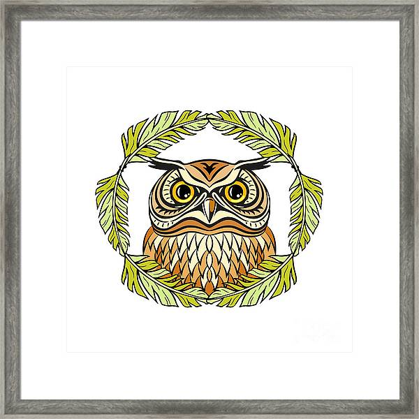 Decorative Illustration With An Owl Framed Print