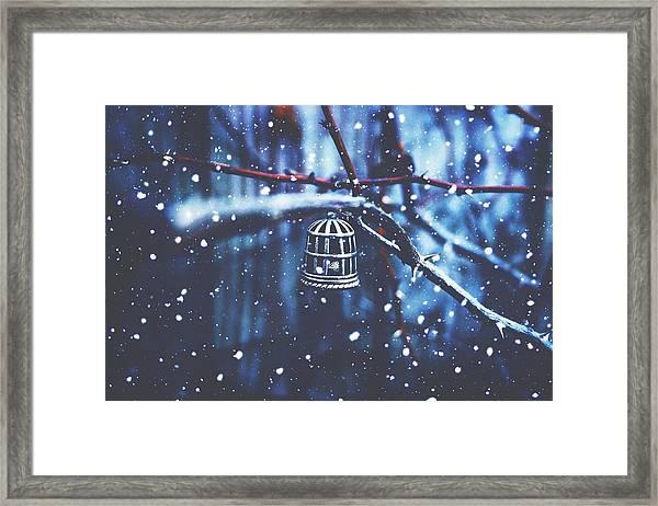 Deep In The Snowy Blues Framed Print
