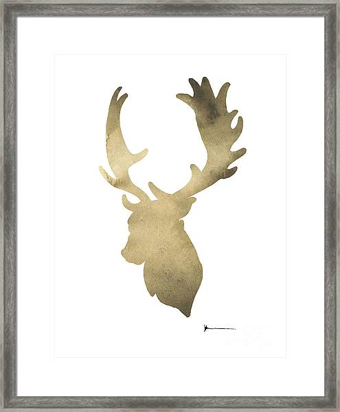 Deer Antlers Original Watercolor Art Print Framed Print