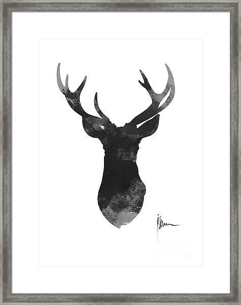Deer Antlers Watercolor Painting Art Print Framed Print
