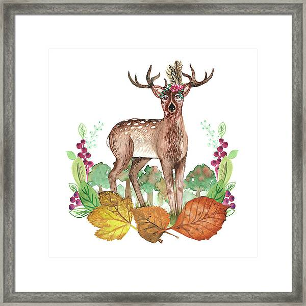 Deer In The Trees With Leafy Wreath Placement.jpg Framed Print