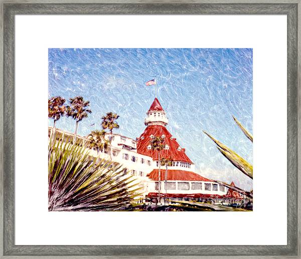 Del With Palms - Horz. Framed Print