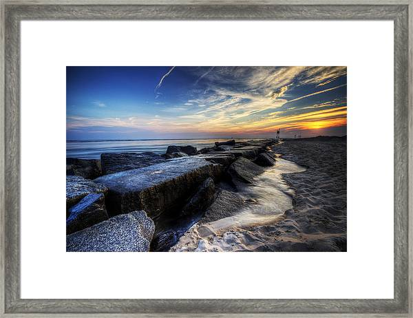 Delaware Sunrise At Indian River Inlet Framed Print