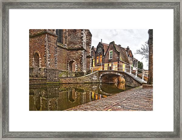Delft Behind The Church Framed Print