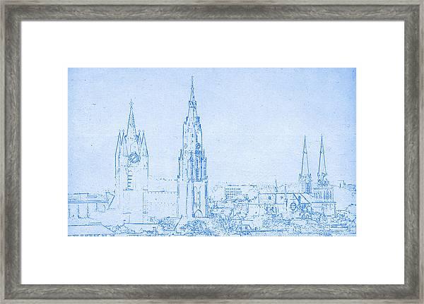 Delft Netherlands Blueprint Framed Print
