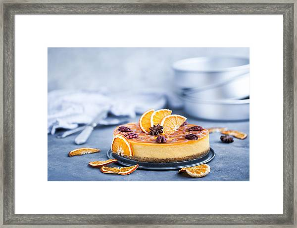 Delicious Pumpkin And Orange Cheesecake Framed Print by Ekaterina Smirnova