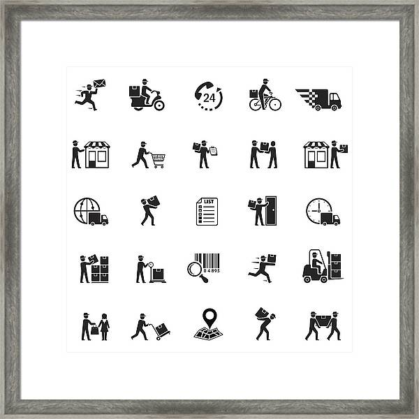 Delivery Icons Framed Print by AlonzoDesign