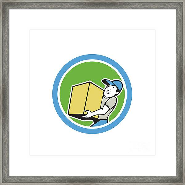 Delivery Worker Carrying Package Cartoon Framed Print by Aloysius Patrimonio