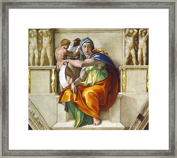 Framed Print featuring the painting Delphic Sybil by Michelangelo di Lodovico Buonarroti Simoni