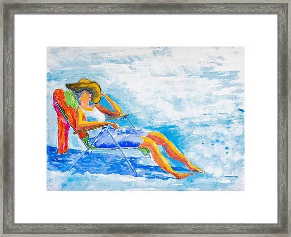 Dena At The Beach Framed Print