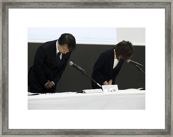 Dena Co. Ceo Isao Moriyasu News Conference Following Fake News Scandal Framed Print by Bloomberg