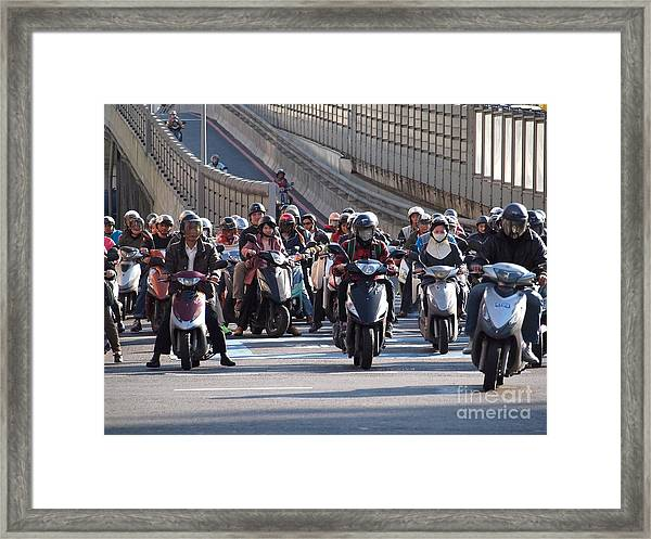 Dense Scooter Traffic In Taiwan Framed Print