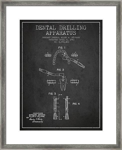 Dental Drilling Apparatus Patent From 1963 - Dark Framed Print