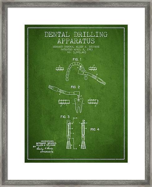 Dental Drilling Apparatus Patent From 1963 - Green Framed Print