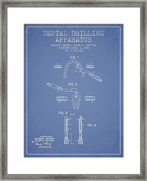 Dental Drilling Apparatus Patent From 1963 - Light Blue Framed Print