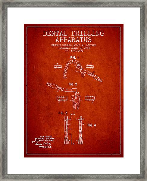 Dental Drilling Apparatus Patent From 1963 - Red Framed Print