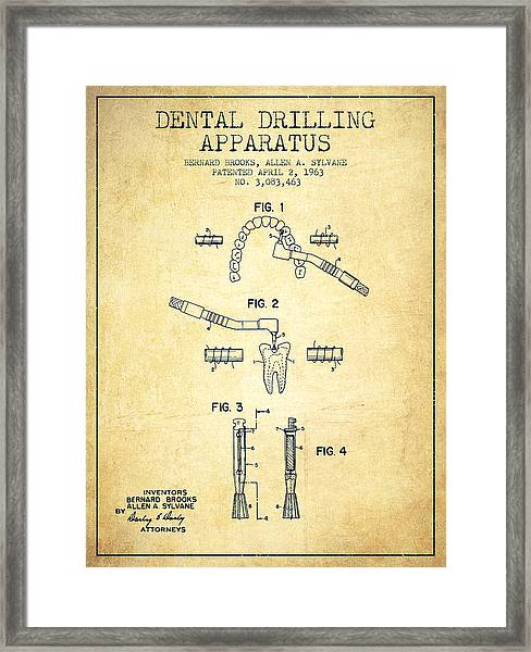 Dental Drilling Apparatus Patent From 1963 - Vintage Framed Print