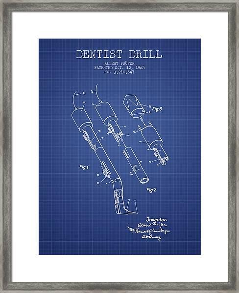 Dentist Drill Patent From 1965 -  Blueprint Framed Print