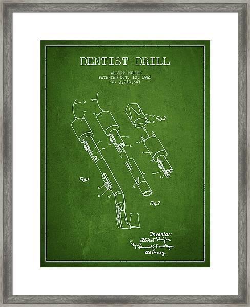 Dentist Drill Patent From 1965 - Green Framed Print
