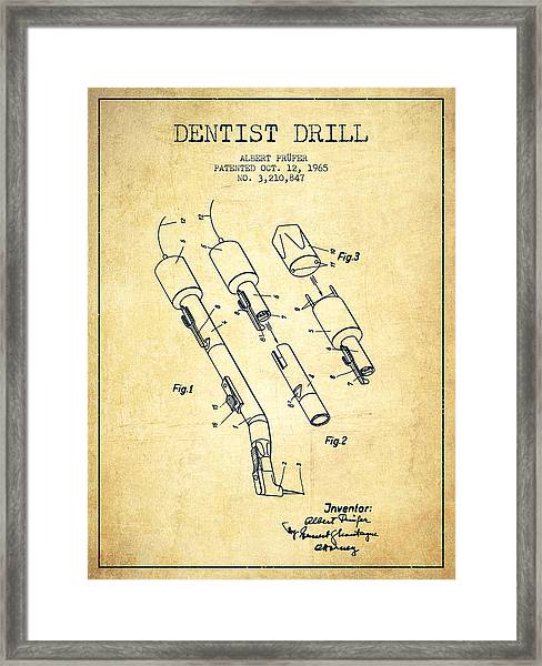 Dentist Drill Patent From 1965 - Vintage Framed Print
