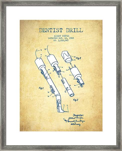 Dentist Drill Patent From 1965 - Vintage Paper Framed Print