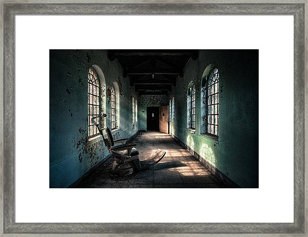 Dentists Chair In The Corridor Framed Print
