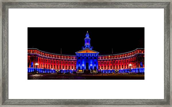 Denver City And Country Building In Bronco Blue And Orange Framed Print