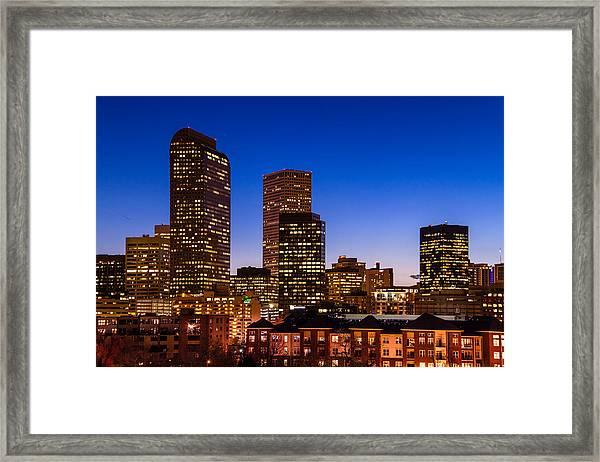 Denver Colorado Skyline At Blue Hour Mar 2013 Framed Print