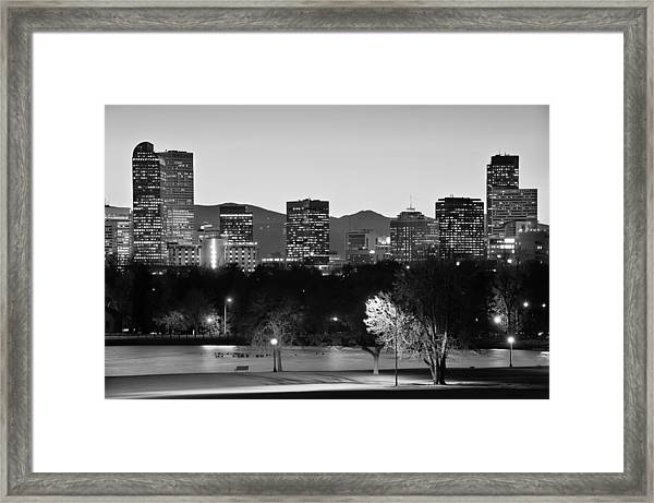 Denver Colorado Skyline In Black And White Framed Print
