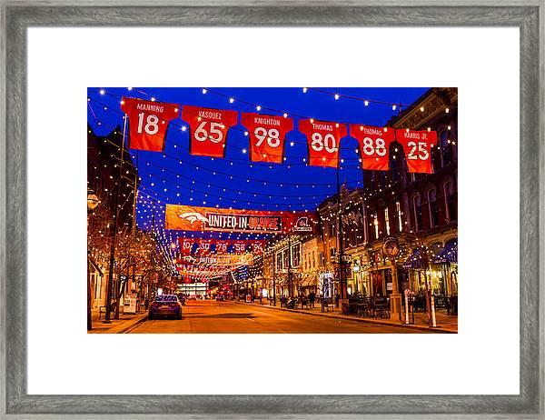 Denver Larimer Square Blue Hour Nfl United In Orange Framed Print