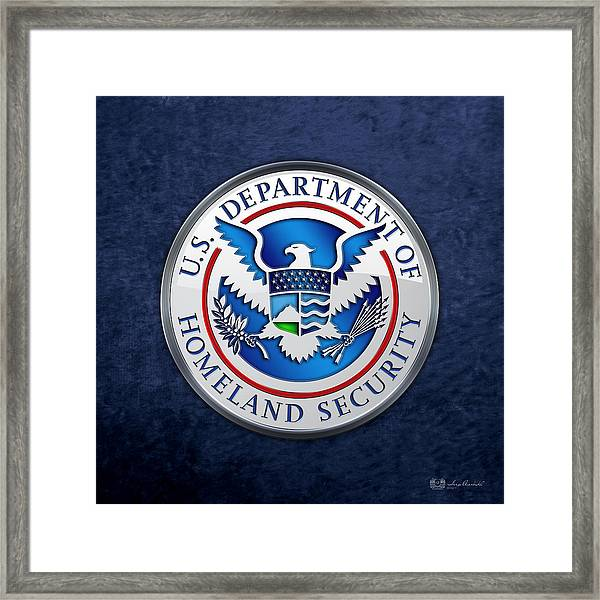 Department Of Homeland Security - D H S Emblem On Blue Velvet Framed Print