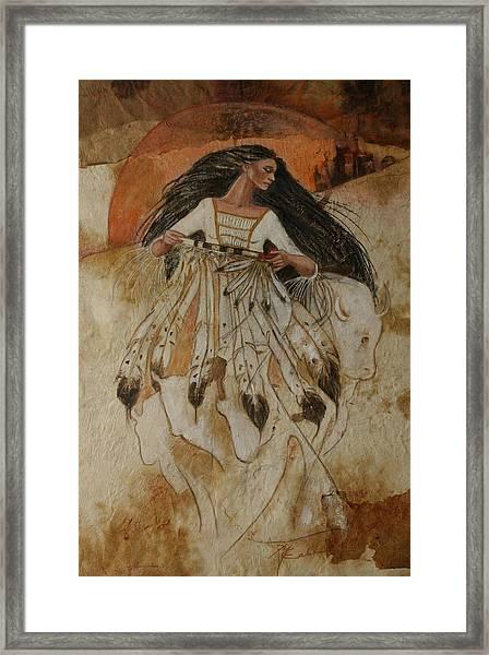 Departure Of White Buffalo Woman Framed Print by Pamela Mccabe