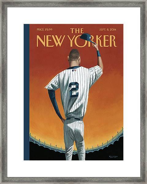 Derek Jeter Bows Out Framed Print