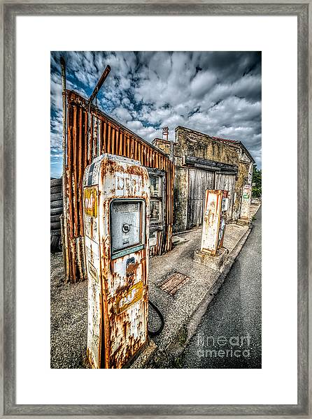 Derelict Gas Station Framed Print