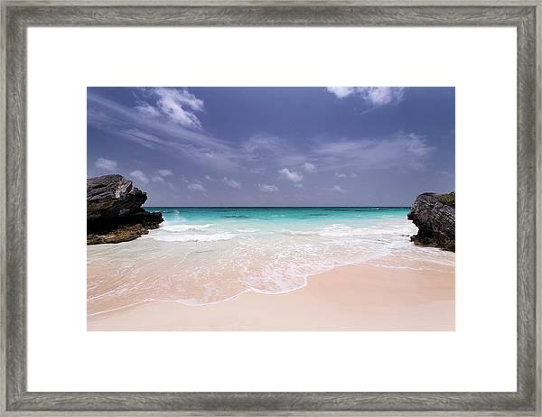 Deserted Pink Sand Beach In Bermuda Framed Print