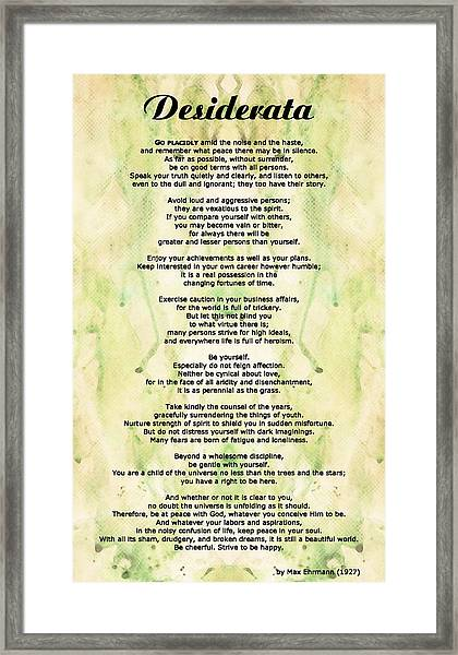 Desiderata 5 - Words Of Wisdom Framed Print